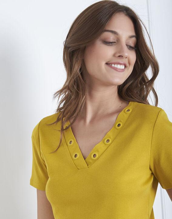 Anisfarbenes T-Shirt mit Ausschnitt mit Ösen Basic (3) - Maison 123