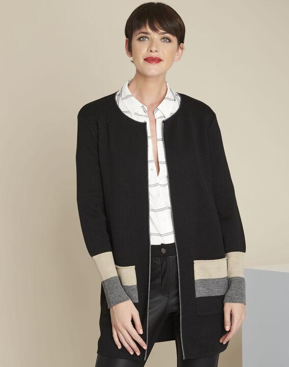 Gilet noir long laine mélangée Bold PhotoZ   1-2-3