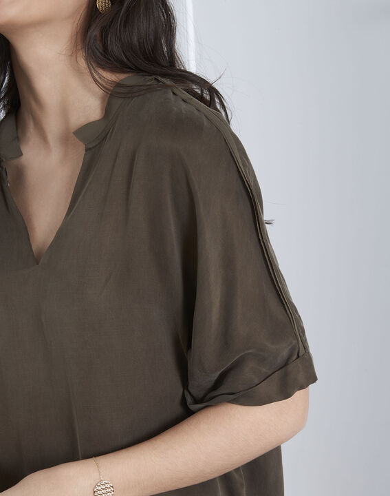Kaki overhemd uit twee materialen Venise (3) - Maison 123