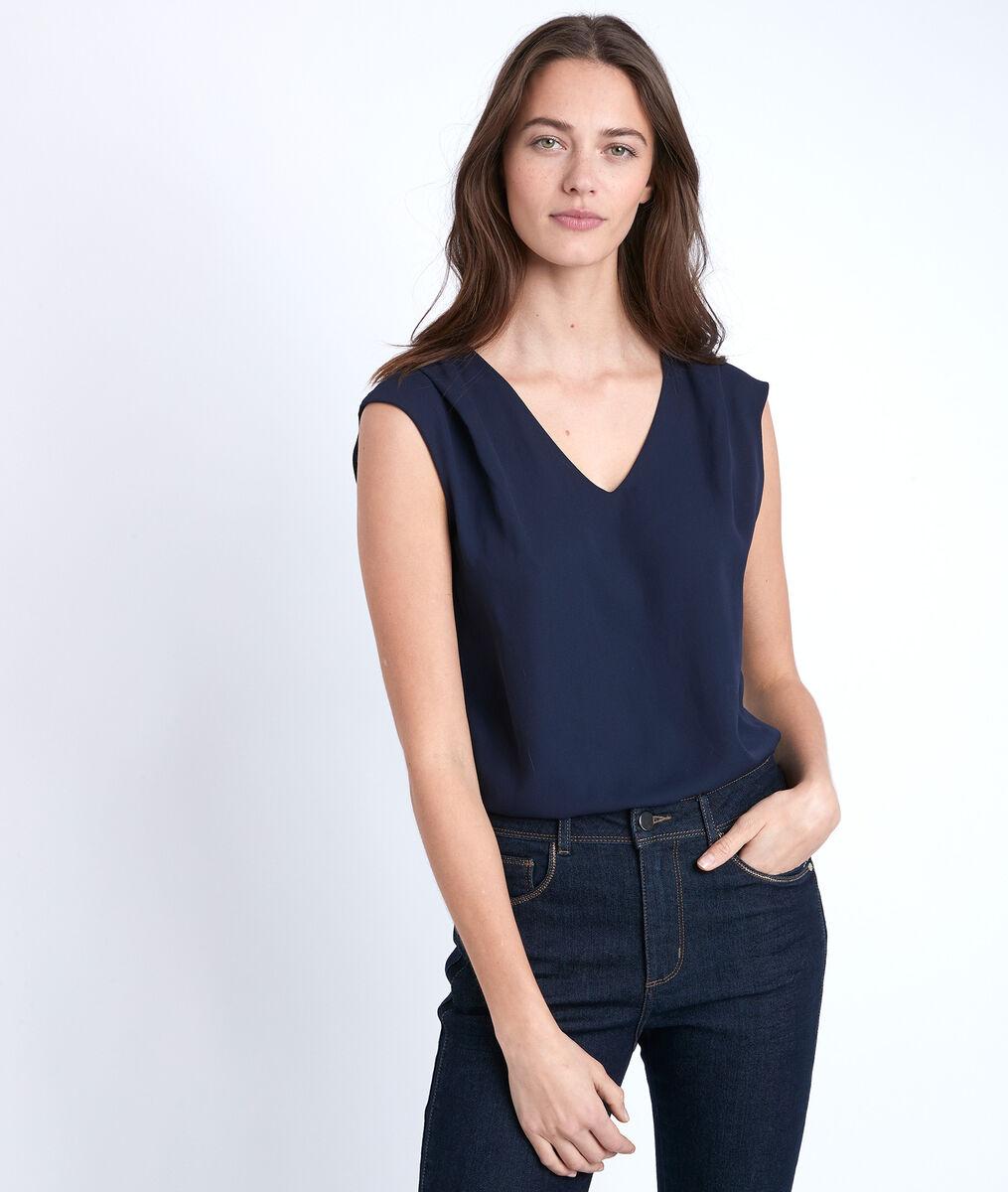 Blauwe blouse uit twee materialen Neptune PhotoZ | 1-2-3