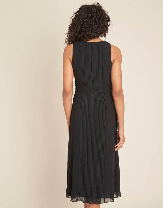 Schwarzes mittellanges Plissée-Kleid Isabella (4) - 1-2-3