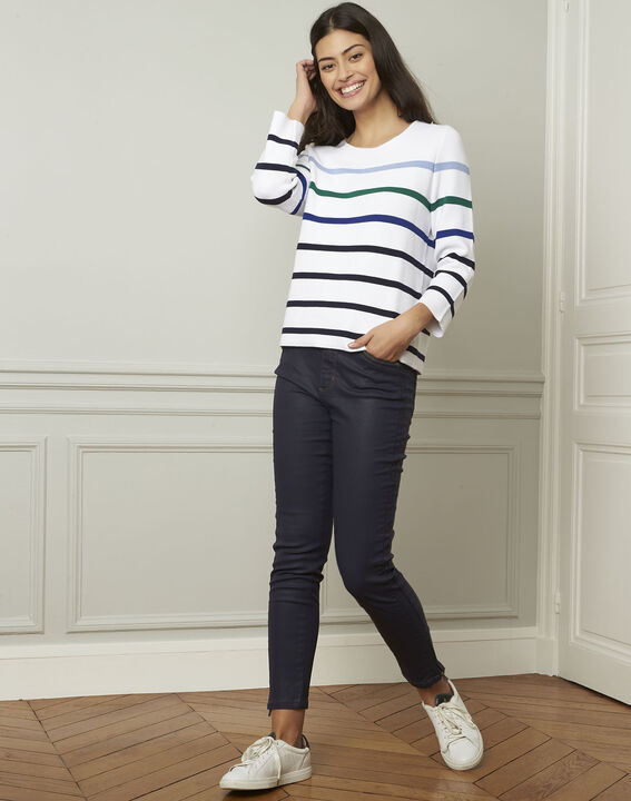 Nacadamia white viscose blend pullover with coloured stripes (2) - Maison 123