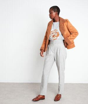 Pantalon de tailleur taille haute gris pâle Debby