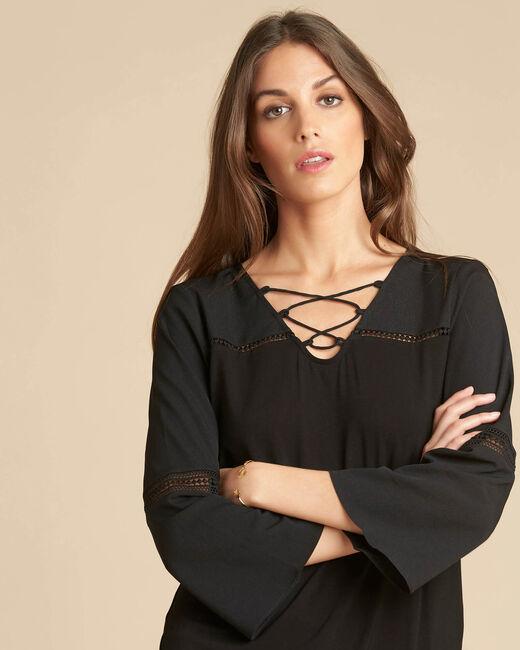 Zwarte blouse uit twee materialen met kanten inzetstukken Echecs (2) - 37653