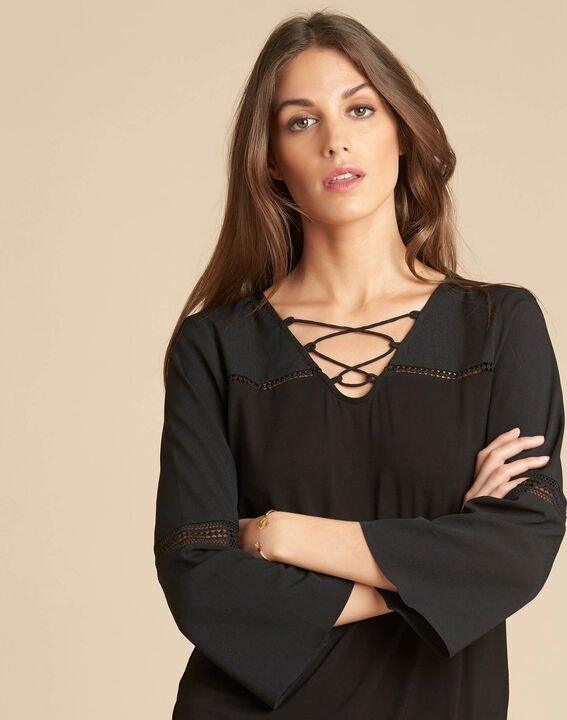 Echecs black dual-fabric blouse with lace insets PhotoZ | 1-2-3