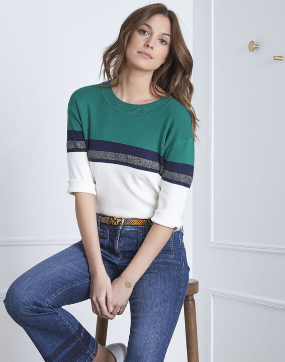 Absynthe green colourblock striped pullover (2) - Maison 123