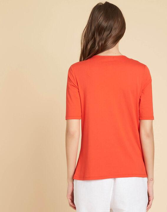 Tee-shirt rouge encolure fantaisie Eshine (4) - 1-2-3