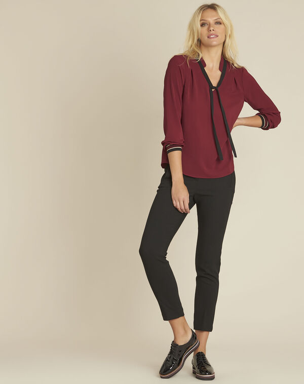 Cordelia red blouse with a decorative neckline (2) - 1-2-3