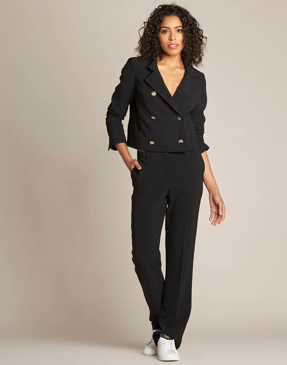 Citron double-breasted cropped black jacket (2) - 1-2-3
