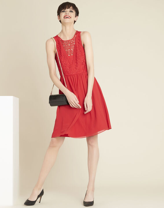 Ibiza red dress with lace at the neckline (3) - 1-2-3