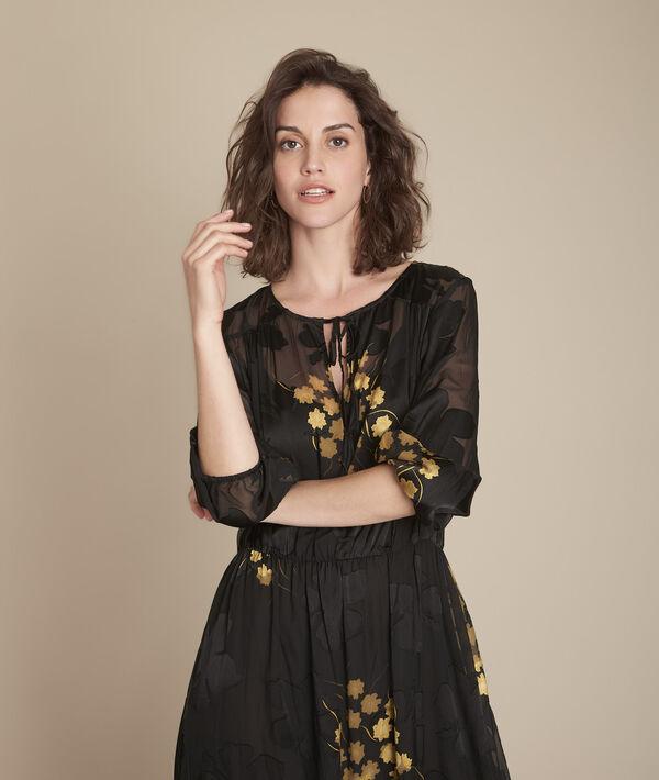 Robe noire longue imprimée Rena PhotoZ | 1-2-3