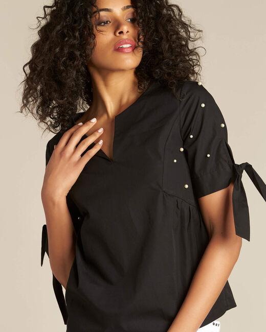 Blouse noire ornée de perles Glamour (1) - 1-2-3