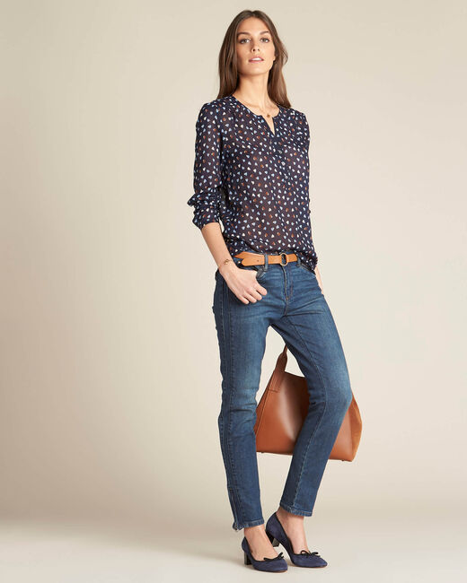 Guilene navy blue heart printed blouse (1) - 1-2-3