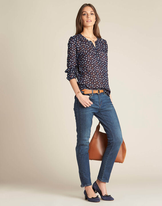 Guilene navy blue heart printed blouse (2) - 1-2-3