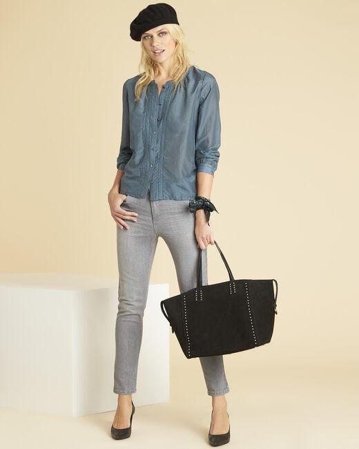 Graue Bluse aus Baumwolle und Seide mit Knöpfen vorn Camille (1) - 1-2-3