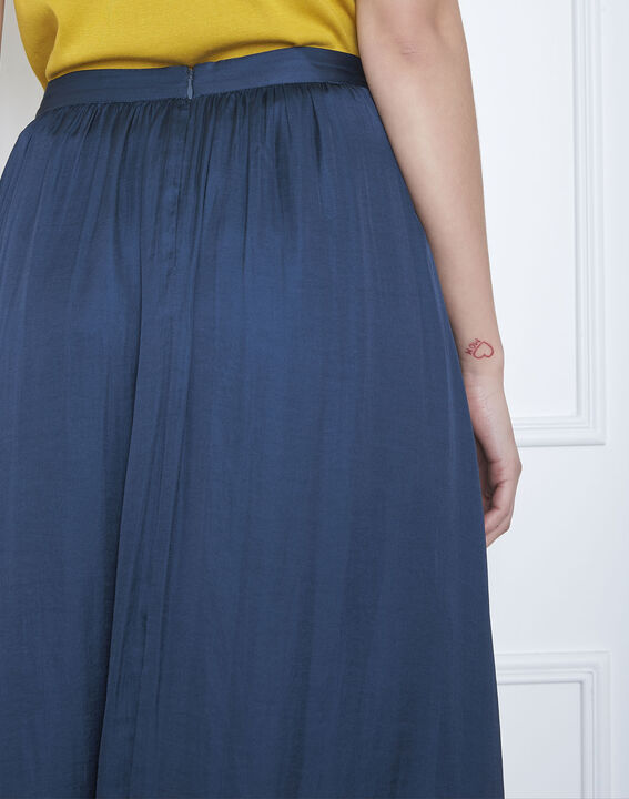 Jupe bleue longue effet satin Sissi (4) - Maison 123