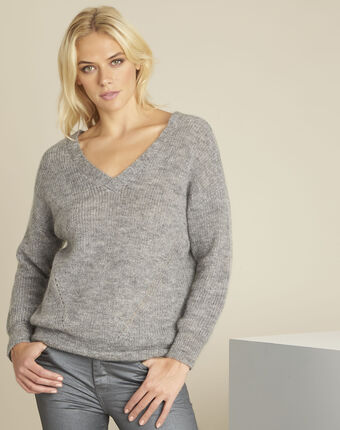 Pull gris laine col v laine mohair baloon chine clair.