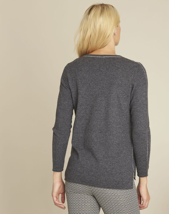 Pull gris laine cachemire maille fine boogie (4) - 1-2-3