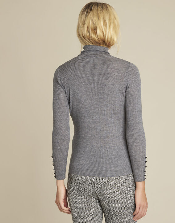Basile grey fine-knit turtleneck pullover (4) - Maison 123