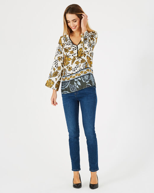 Douna yellow printed blouse with V-neck (1) - 1-2-3