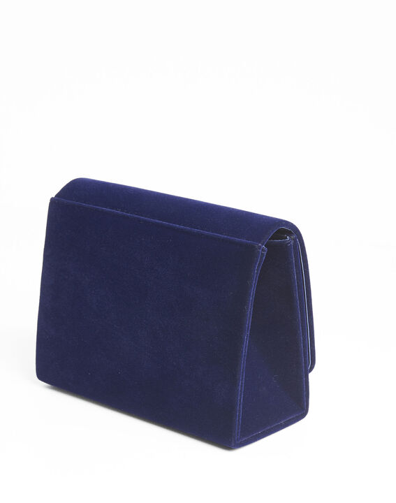 Ismael navy blue clutch bag with silver tone clasp (4) - 1-2-3