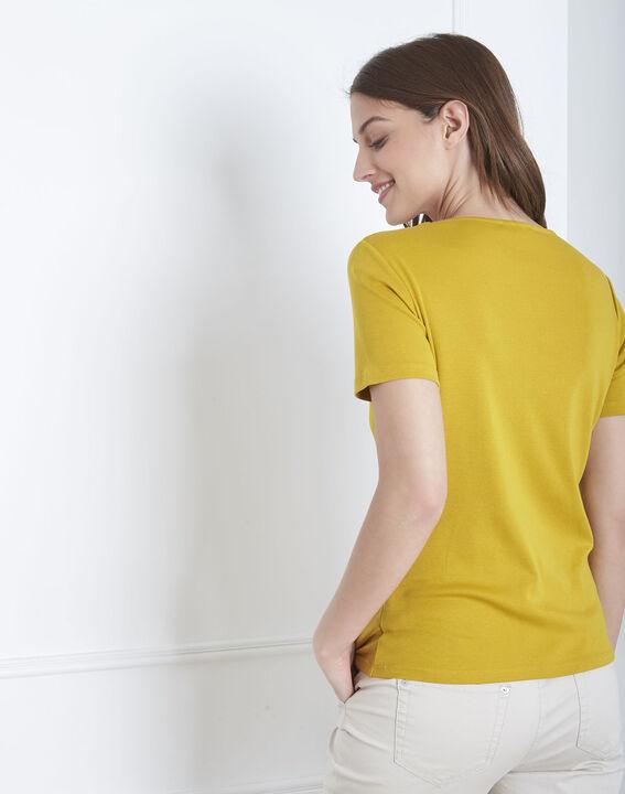 Anisfarbenes T-Shirt mit Ausschnitt mit Ösen Basic (4) - Maison 123