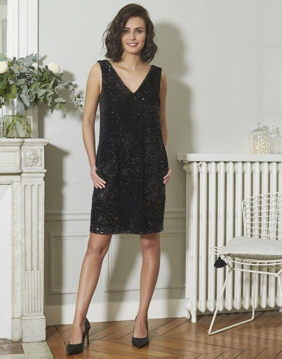 Schwarzes Kleid mit Metallplättchen Noce (2) - 1-2-3