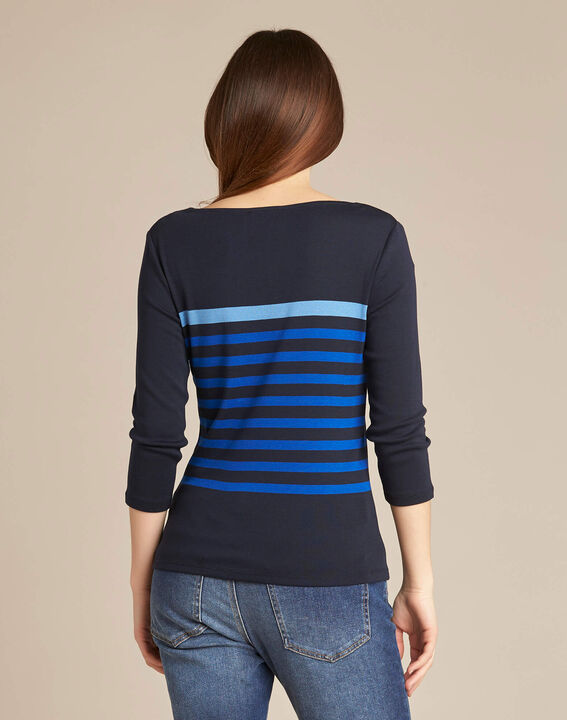 Emarine navy blue striped T-shirt with 3/4 sleeves (4) - 1-2-3