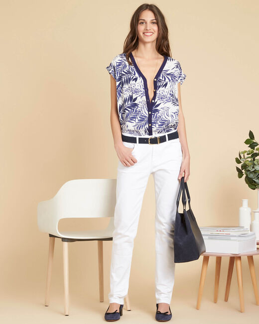 Garance sleeveless linen blouse with palm print (2) - 1-2-3