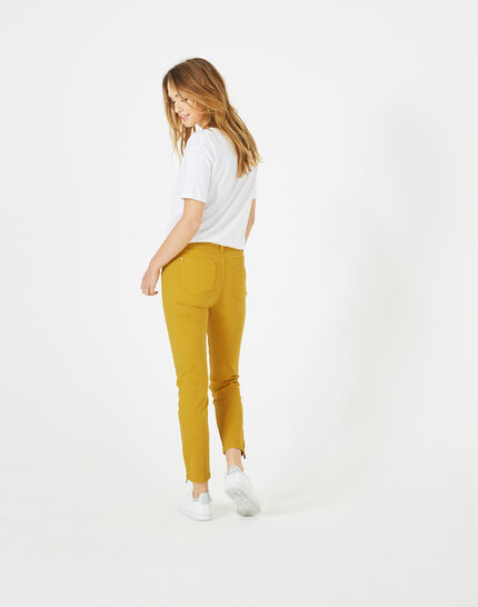 Pia yellow 7/8 length satin trousers (5) - 1-2-3