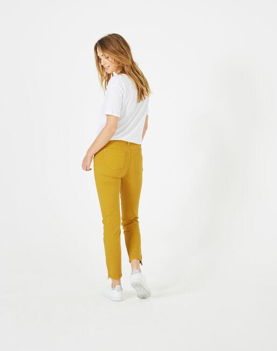 Pia yellow 7/8 length satin trousers (5) - 1-2-3