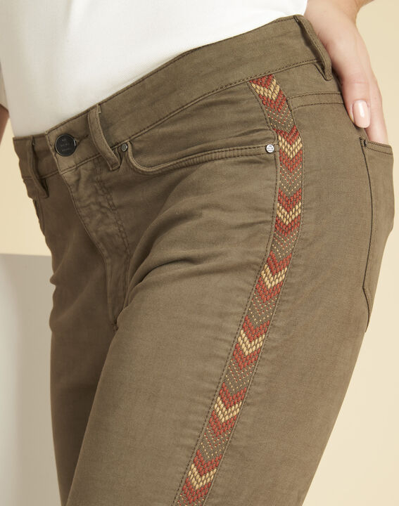 Vendôme khaki 7/8-length jeans with decorative detailing on the side (3) - 1-2-3
