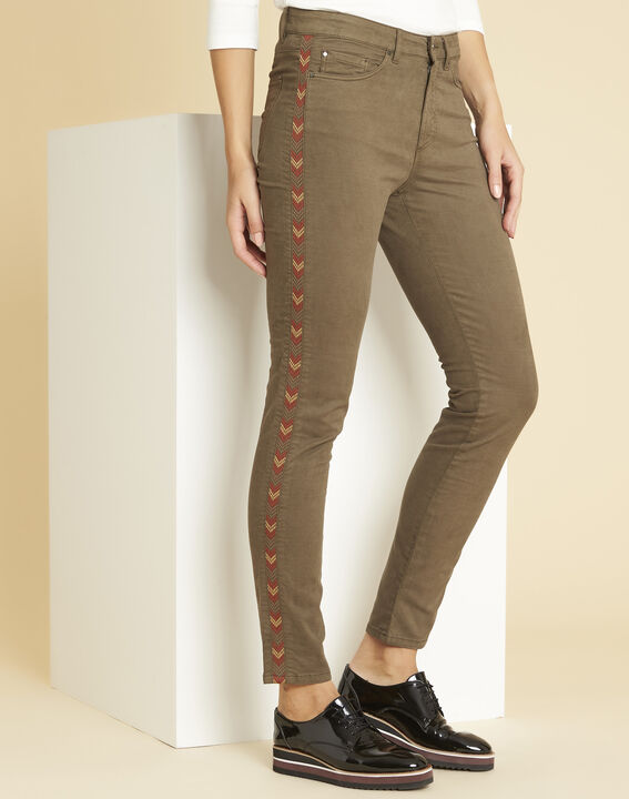 Vendôme khaki 7/8-length jeans with decorative detailing on the side PhotoZ | 1-2-3