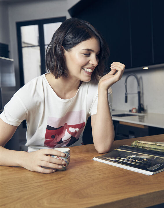 T-Shirt ecru Mujer Internationaler Frauentag (3) - Maison 123
