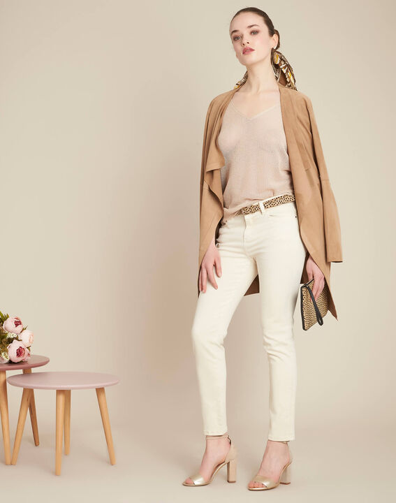 Noix short-sleeved fine-knit gold sweater (2) - 1-2-3