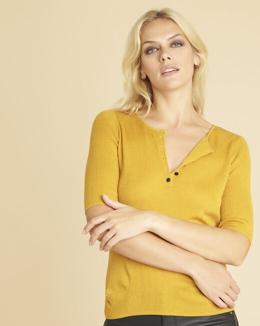 Basso ochre fine-knit sweater with buttoned neckline (2) - 1-2-3