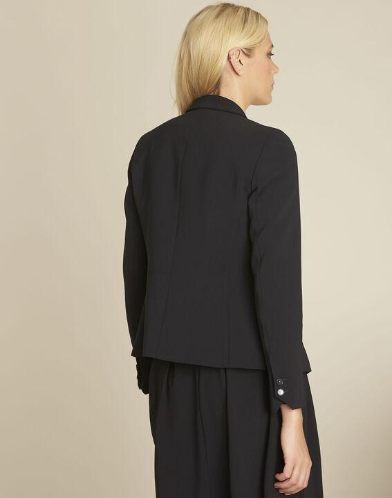 Eve black belted jacket in microfibre (4) - 1-2-3