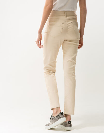 Oliver beige shiny coated 7/8 length trousers (5) - 1-2-3