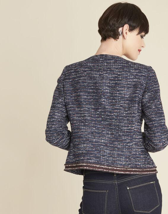 Charme cobalt blue jacket in a decorative knit (4) - 1-2-3