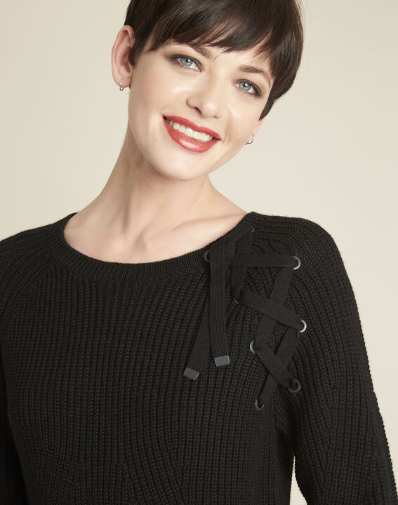 Bountie black wool mix pullover with lacing detail (3) - Maison 123