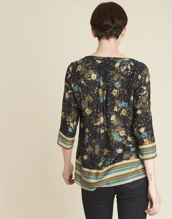 Schwarze Bluse mit Blumenprint Arletty (4) - 1-2-3