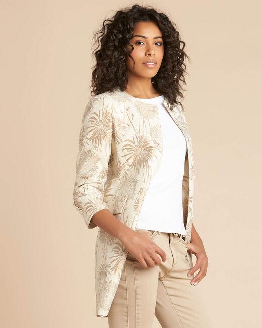 Kamelia long beige patterned coat (2) - 1-2-3