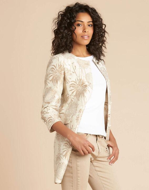 Langer beigefarbener Mantel mit Print Kamelia (3) - 1-2-3