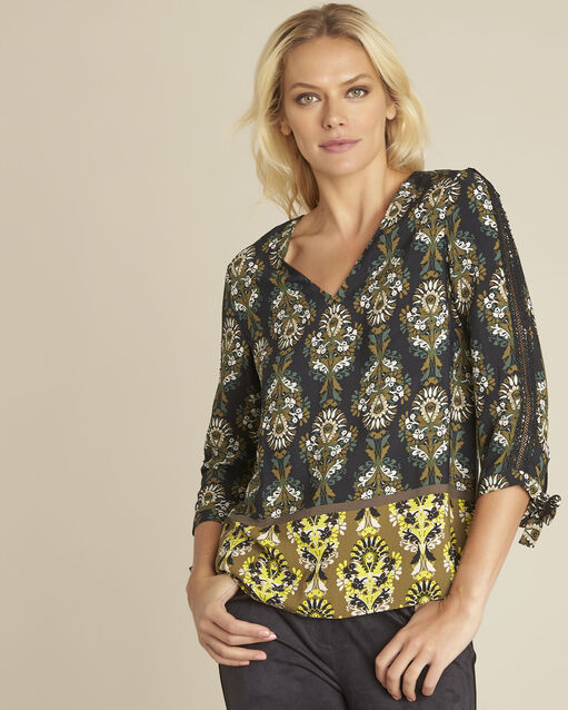 blouse noire imprimé fleuri Chams (1) - 1-2-3