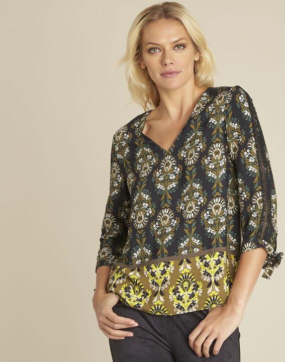 blouse noire imprimé fleuri Chams PhotoZ | 1-2-3