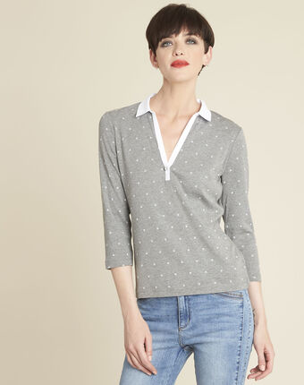 Galice grey printed t-shirt with contrasting neckline mid chine.