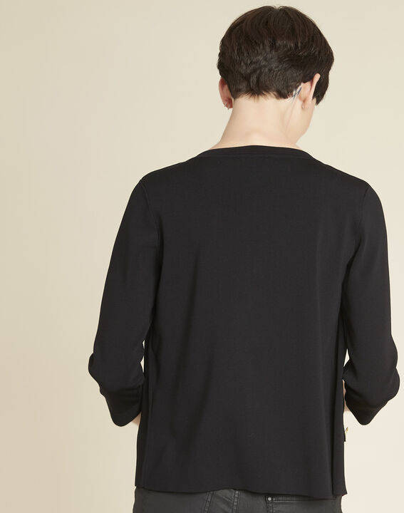Bonny black knit cardigan with golden buttons (4) - Maison 123
