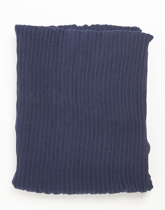 Flash navy blue scarf with metallic yarn (1) - 1-2-3
