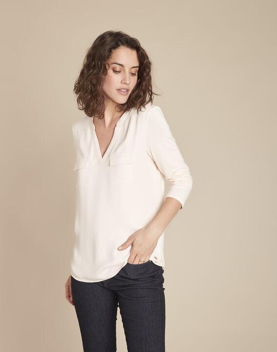 Nudefarbenes T-Shirt im Materialmix mit Tunika-Kragen Genna PhotoZ | 1-2-3