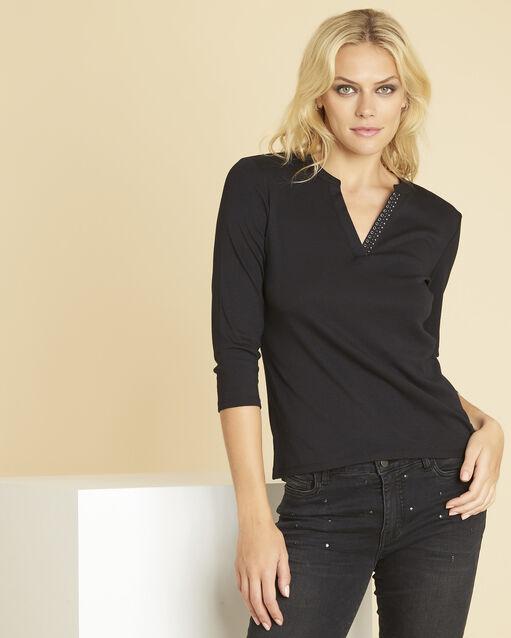 Tee-shirt noir encolure V fantaisie Episod (1) - 1-2-3